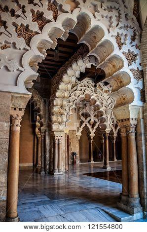 Interior of Aljaferia Palace in Saragossa, Spain