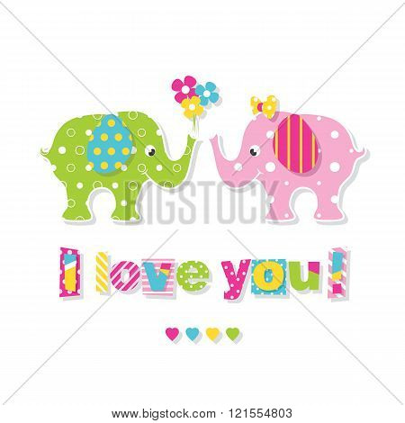 I love you elephants greeting card