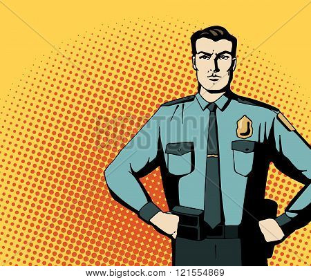 Pop art strong policeman. Cartoon beautiful man in blue niform. Vintage advertising poster. Comic hand drawn vector illustration.