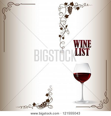 Cover for wine list with bunch of grapes, grape leaves, glass of red wine.