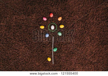 Eggs Lying On The Carpet. Abstract Flower.flat Lay. Easter Aggs