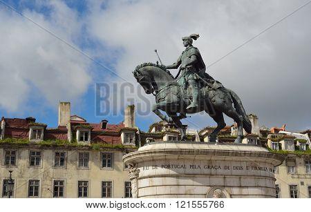 Bronze Statue of King Joao Praca da Figueira.