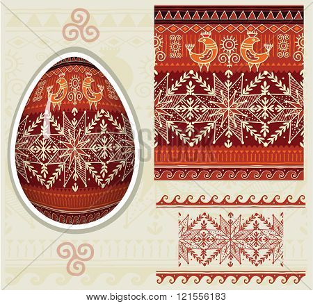 Traditional folk ornament for Easter eggs Pysanka