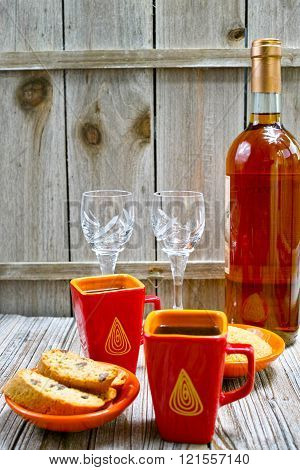 Dessert Sweet Liqueur Wine, Two Cups With Espresso Coffee And Amandel Cantuccini