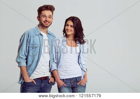 Beautiful Young Couple In Jeans