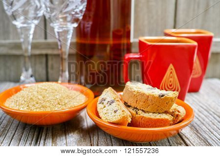 Two Cups With Espresso Coffee And Amandel Cantuccini