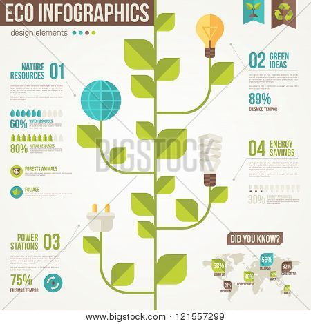 Ecology Infographics. Light Bulbs and Plug on Stem