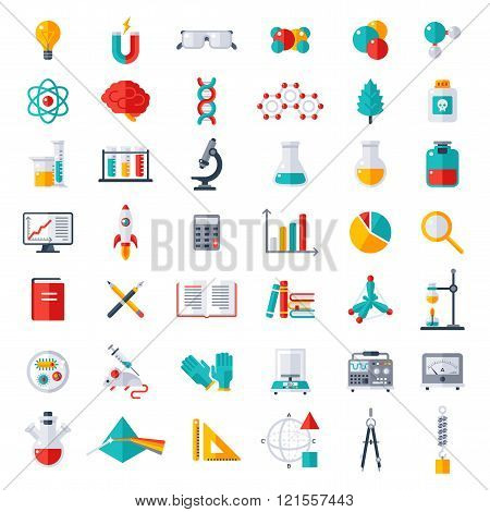Physics, Chemistry, Biology Icons Set
