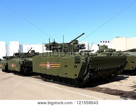 MOSCOW - MAI 5:New model of infantry combat vehicles on the parking place   -  on Mai 5, 2015 in Moscow