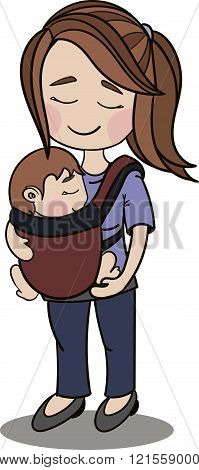 Happy Vector Cartoon Characters, Mother Carrying A Baby