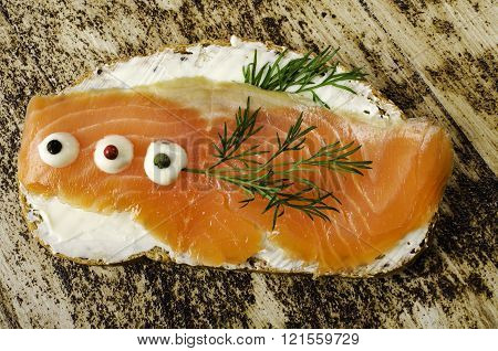Sandwich With Salted Salmon.