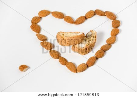 Cantuccini With Almonds Heart Shape