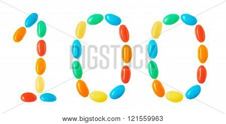 100 Number Made Of Multicolored Candies Isolated On White