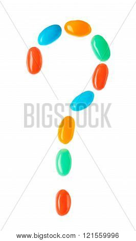 Question Mark Symbol Made Of Multicolored Candies
