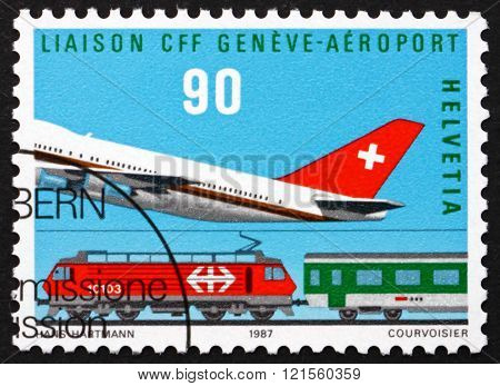 Postage stamp Switzerland 1987 Plane and Train