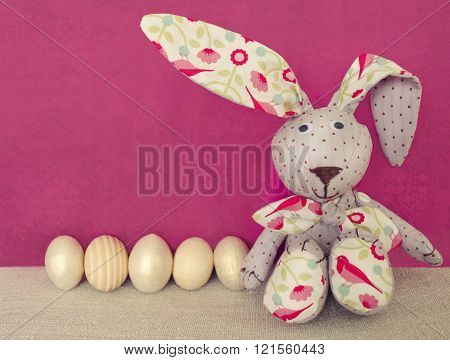 Easter Decoration With Rabbit And Eggs.
