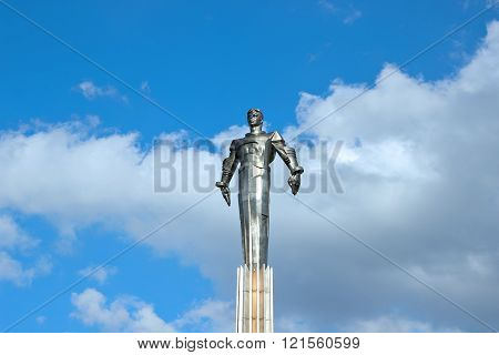MOSCOW, RUSSIA - SEPTEMBER 19, 2012: Monument in Moscow to Yury Gagarin - the first man in the world, flying into space