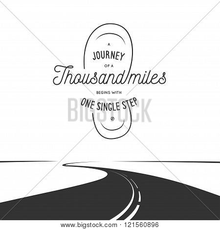 Journey of a thousand miles typographic poster. Vintage vector illustration.