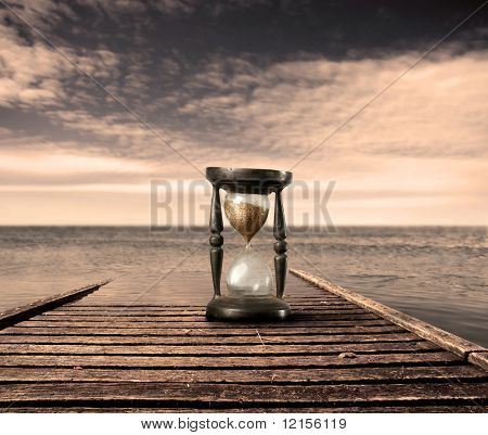 hourglass on a wharf