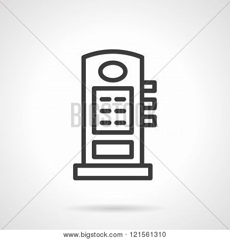 Car filling column black line design vector icon