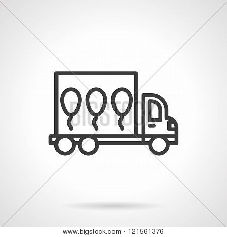 Balloons delivery black line design vector icon