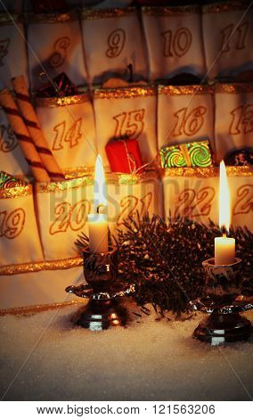 Filled Advent Calendar By Candlelight