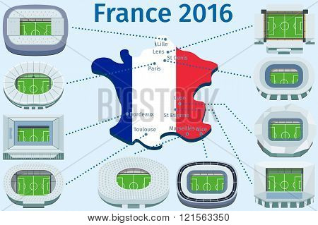 Flat Stadiums And Town Football Championship France 2016.