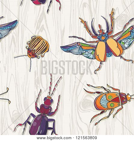 Hand drawn Beetles on wooden background. Seamless pattern. Insect collection.Scarab and colorado beetles ant