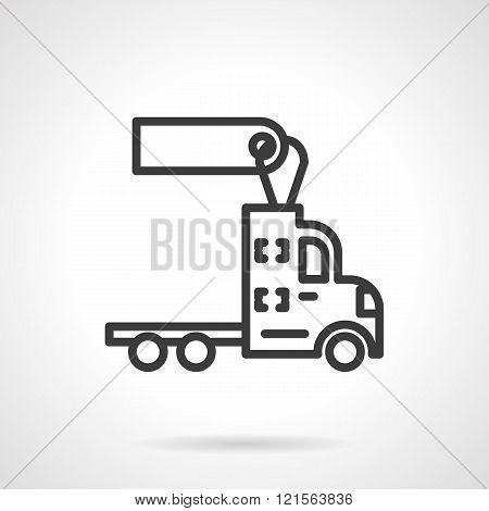 Trucks for rent black line design vector icon