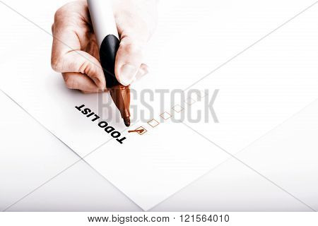 To Do List With Woman Hand And Marker