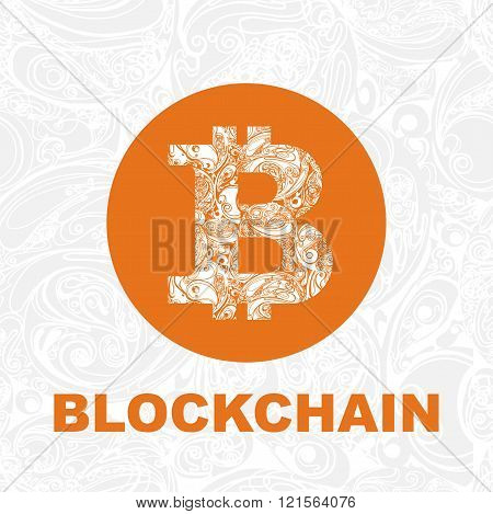 Vector Bitcoin symbol and letters blockchain on gray decorative seamless background. cryptography illustration