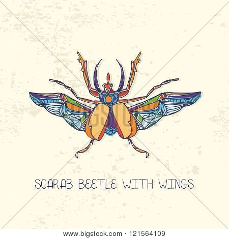 Hand drawn Scarab beetle with wings.Multicolor vector illustration