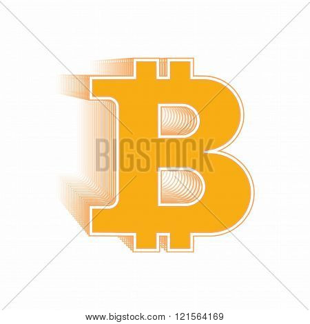 Orange Symbol Bitcoin and blockchain on background with symbols bitcoins