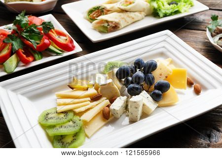 Restaraunt food - cheese plate with grape