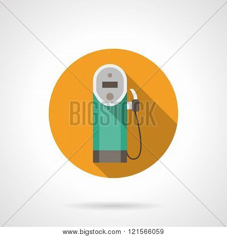 Color button for gas station. Flat vector icon