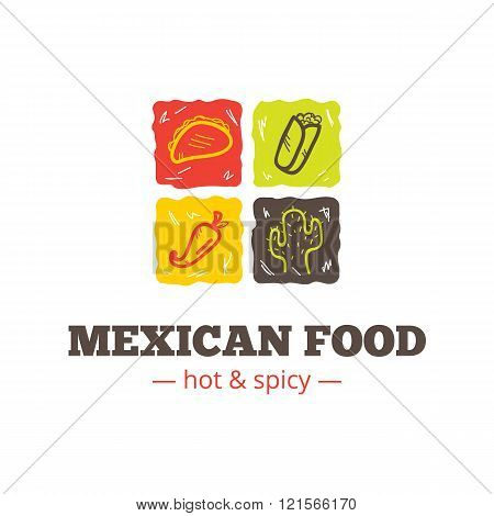 Vector colorful mexican food logo. Mexican restaurant logo. Fast food cafe logo template