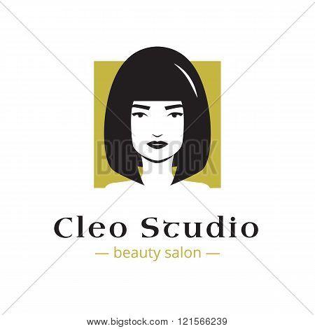 Vector minimalistic beauty studio logo in black and gold colors. Beautiful woman head logo. Spa salo