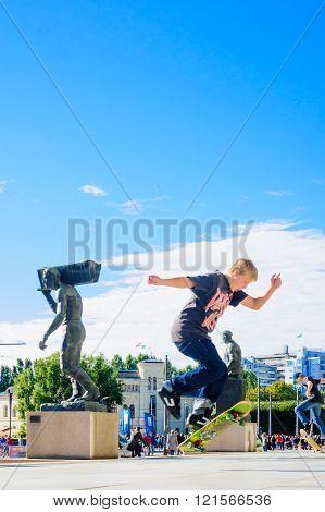 Skateboarders In Downtown Oslo