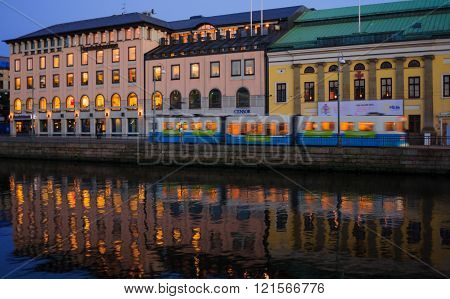Buildings, Tram And Reflections In Downtown Gothenburg