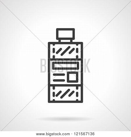 Bottle of solvent black line design vector icon
