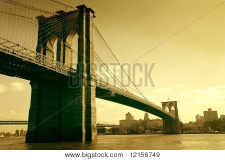 brooklyn bridge in sepia colour