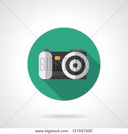 Digital camera round flat color vector icon