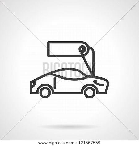 Sport car for sale black line design vector icon