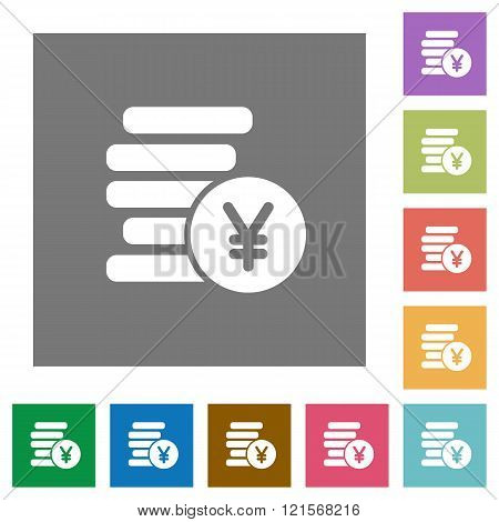 Yen Coins Square Flat Icons