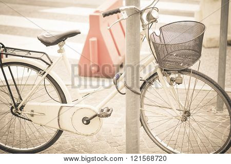 Women's Bicycle Parked On The Street