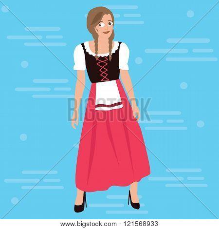 bavarian girl oktober festival dress costume german traditional clothes bavaria vector drawing illus
