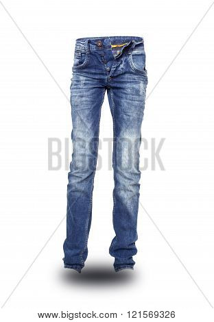 Blue Jeans Unbuttoned Teenager Isolated