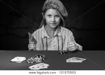 Girl Holding A Poker Card