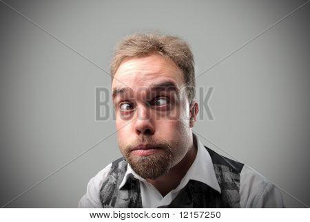portrait of squint funny man