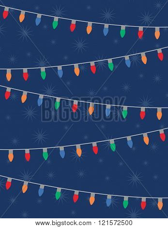 Holiday lights and stars over solid blue background
